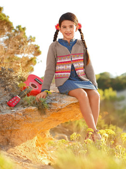 Fairisle Cardigan with Fringes in Bergere de France Sonora - 24 - Downloadable PDF
