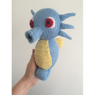 Horsea pokemon toy plushie Knitting pattern by Emma Whittle