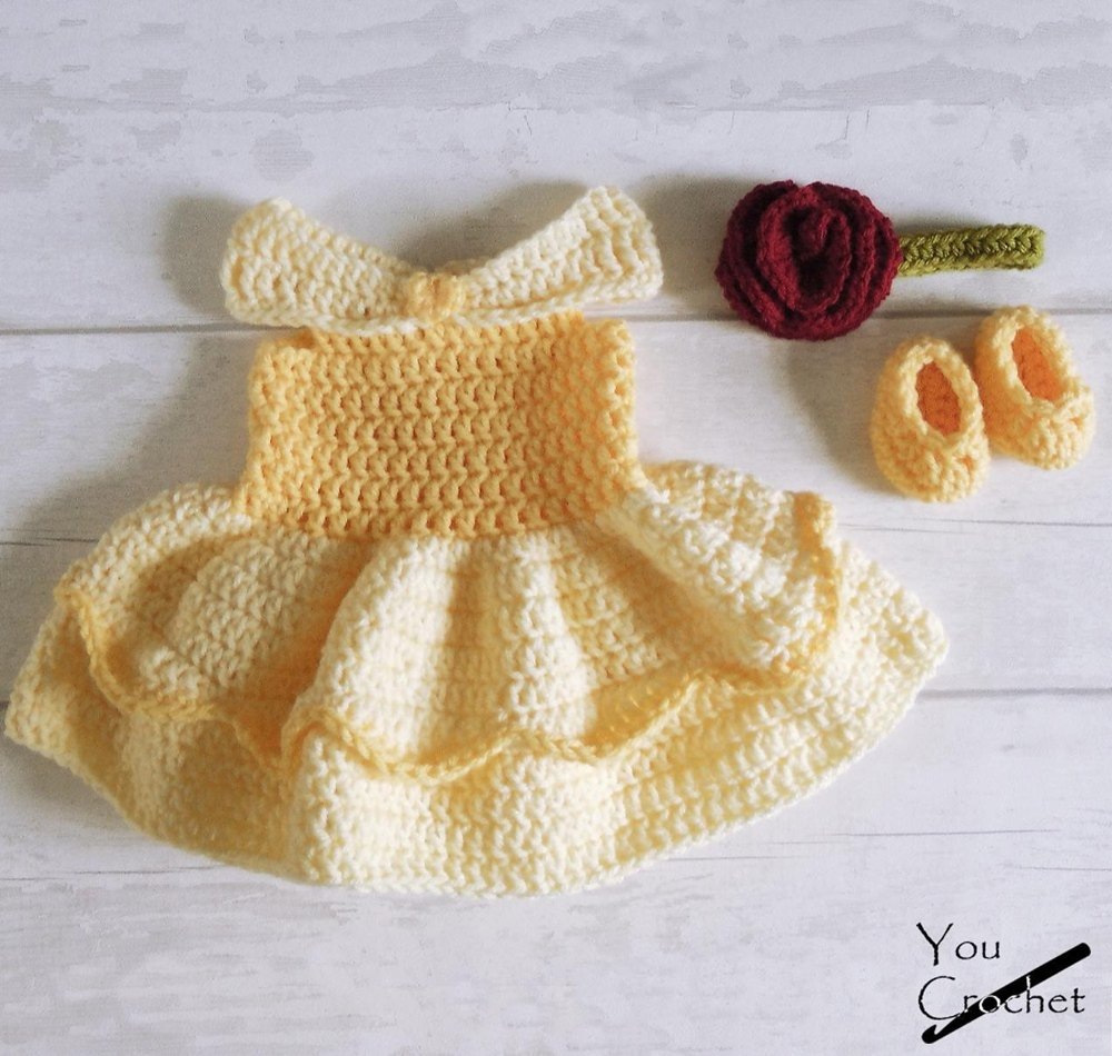 Princess Belle Crochet Baby Dress Crochet Pattern By You Crochet