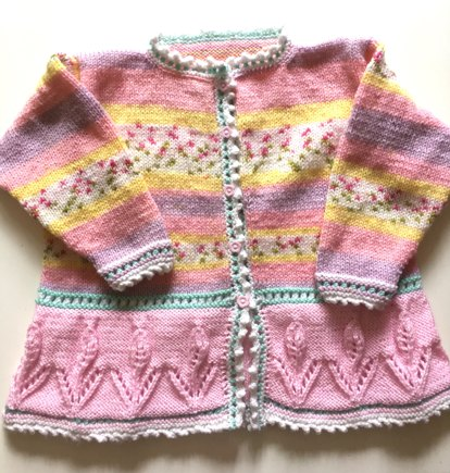 Young Girls Flower Lace Knit Cardigan Knitting Project By Katie R