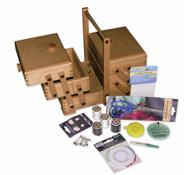 Sewandso Small Cantilever Sewing Box With Sewing Starter Set, Beech Wood - Dark Colour