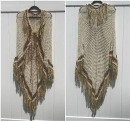 Native American Style Tribal Poncho with Sleeves