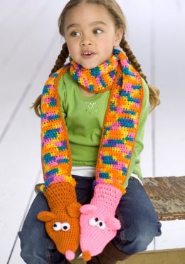 Crochet Puppet Scarf in Red Heart Super Saver Economy Solids and Sport - WR1834