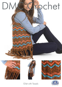 Gilet with Tassels in DMC Petra Crochet Cotton Perle No. 3 - 15270L/2 - Leaflet