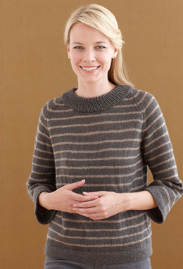 Grey Glamour Pullover in Lion Brand Vanna's Glamour - L0494