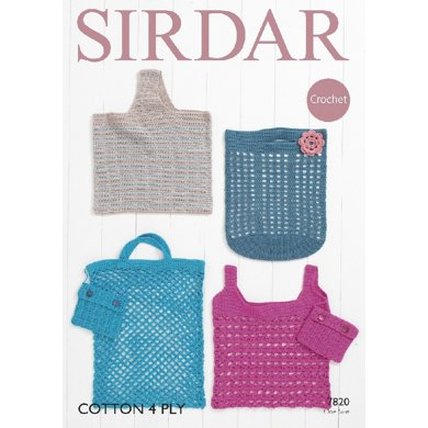 Sirdar Knitting Pattern Abbreviations : Bags in Sirdar Cotton 4 Ply - 7820 - Downloadable PDF