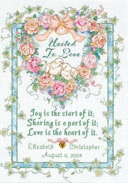 Dimensions United in Love Wedding Record Cross Stitch Kit - 25.5cm x 36cm
