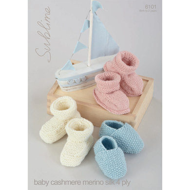 Shoes and Bootees in Sublime Baby Cashmere Merino Silk 4Ply - 6101