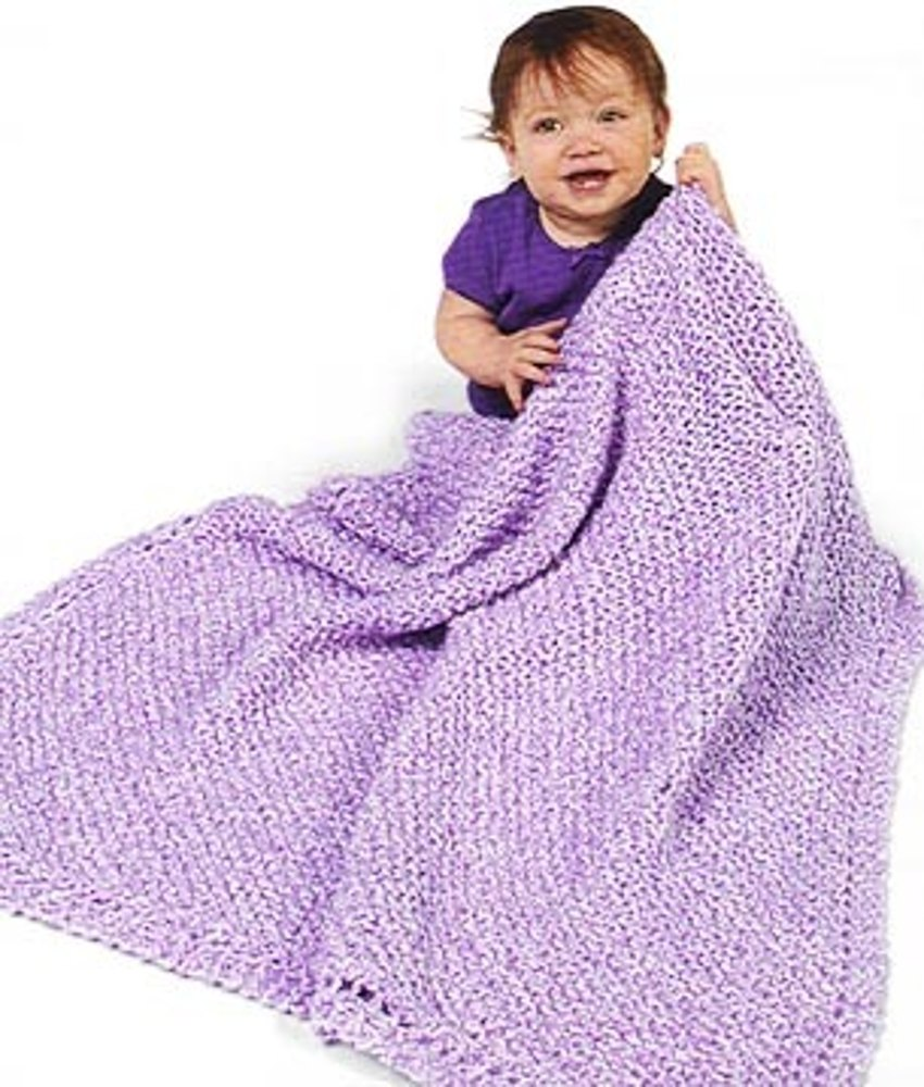 Crochet Diagonal Pattern Baby Blanket In Lion Brand