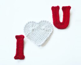 Crochet Letters. I Heart U Applique. Crochet Embellishment