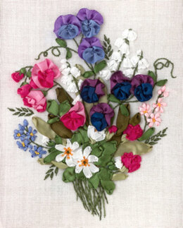 PANNA Colourful Sweet Pea Ribbon Embroidery Kit - 19 x 24 cm