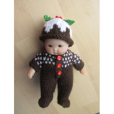 """Christmas Pudding Outfit for 5"""" Berenguer Doll"""