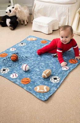 Young Athlete Blanket and Rattles in Red Heart Super Saver Economy Solids - LW4224
