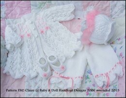 "Feathered Lacy Coat set for 16-21"" doll/preemie /0-3m"