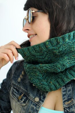 Greenland cable knit cowl scarf