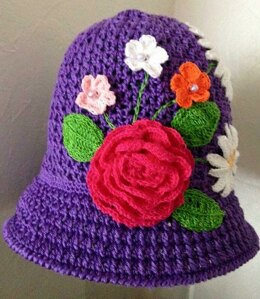 My Flower garden crochet summer hat