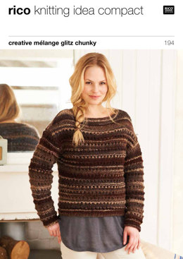 Lace Yoke Sweaters & Snood in Rico Creative Melange Glitz Chunky - 194