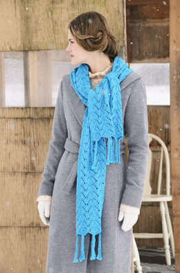 Baltic Wrap in Blue Sky Fibers Skinny Cotton - Downloadable PDF