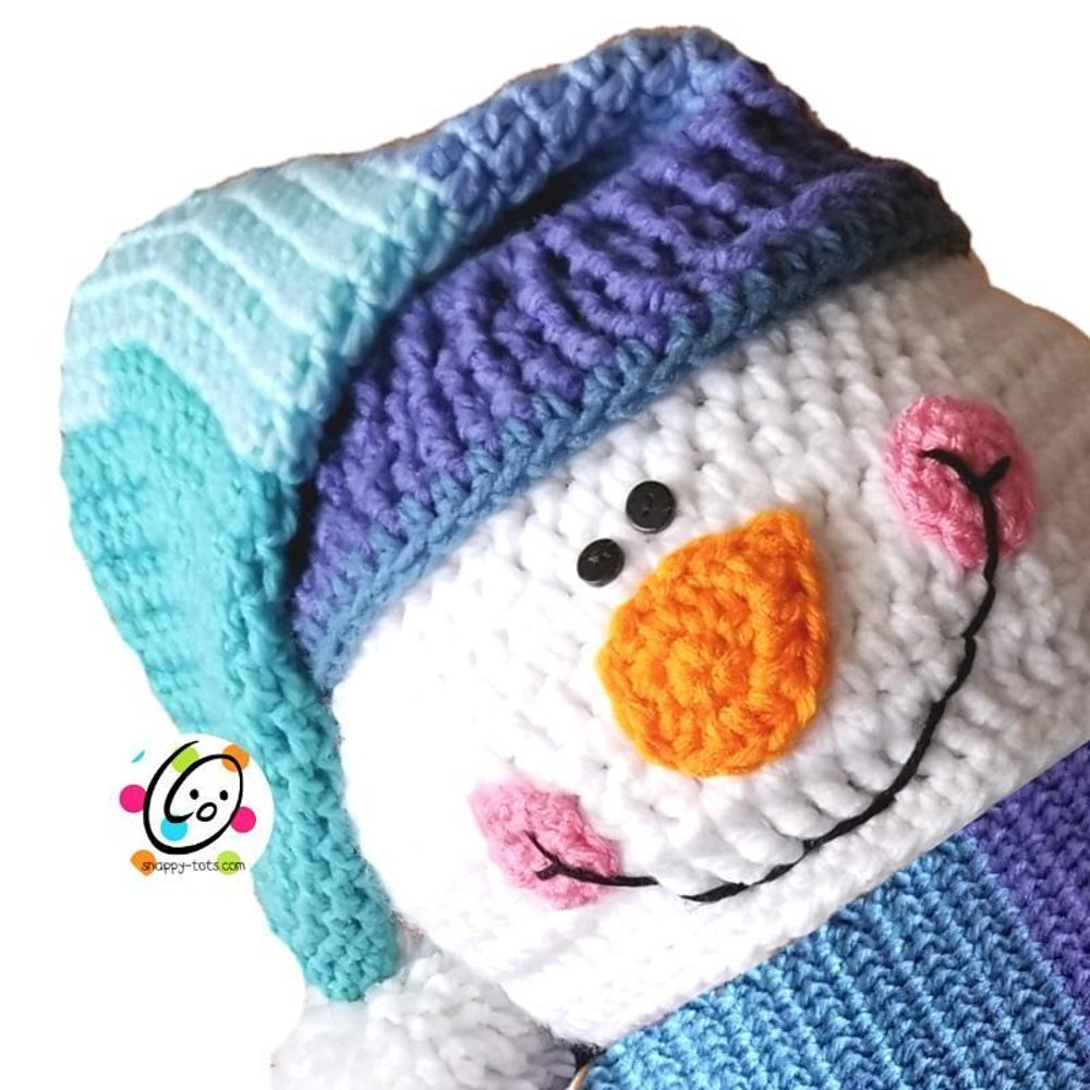 Snappy Hooded Snowman Scarf With Mittens Crochet Pattern By