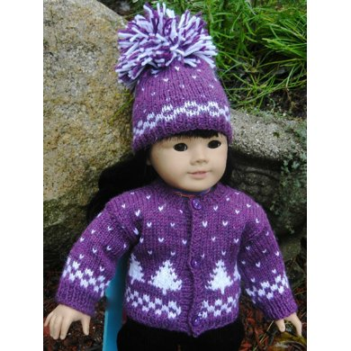 Winter Pines Doll Hat, Sweater & Mitten Set