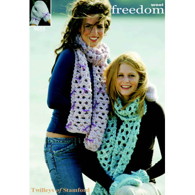 Scarf and Mittens in Twilleys Freedom Wool - 9055
