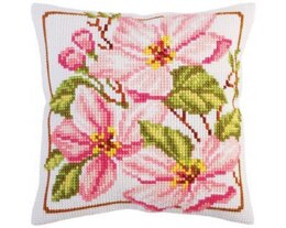 Collection D'Art Pink Magnolia Cross Stitch Cushion Kit