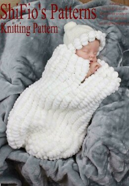 Knitting Pattern baby pompom cocoon UK & USA Terms #203