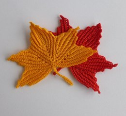 Maple leaf motifs. Irish crochet