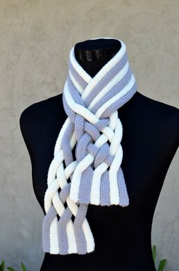 Braided String Scarf ( Keyhole / Ascot / Pull-Through / Stay On Scarf Knitting Pattern )