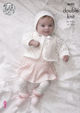 Matinee Coat, Double Breasted Matinee Jacket, Cardigan, Bonnet, Hat & Bootees in King Cole Comfort DK - 4690 - Downloadable PDF