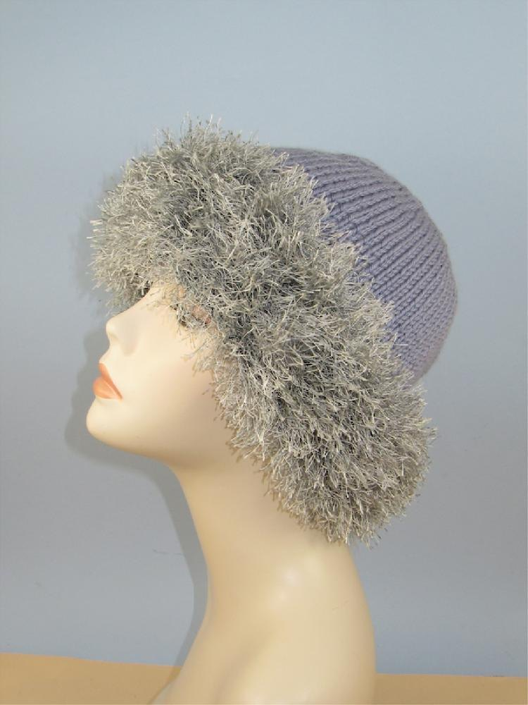 Faux Fun Fur Trim Beanie Hat Knitting Pattern By