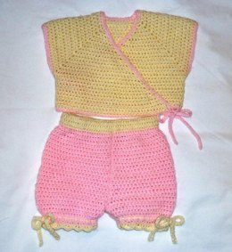 Neckdown Crocheted Baby Kimono Vest with Panties (or Shorts)