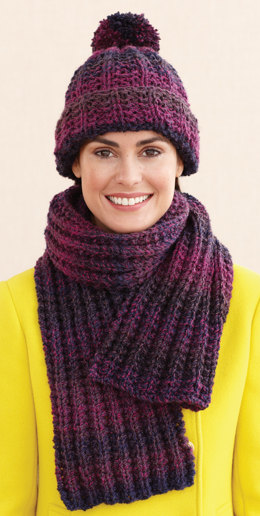 Rustic Ribbed Hat and Scarf in Lion Brand Tweed Stripes - L0611G