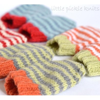 4ply Stripe Baby Mittens Knitting Pattern By Little Pickle Knits