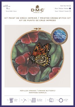 "DMC Orange Butterfly (printed fabric, 6"" hoop) Cross Stitch Kit - 25cm x 25cm - BK1789"