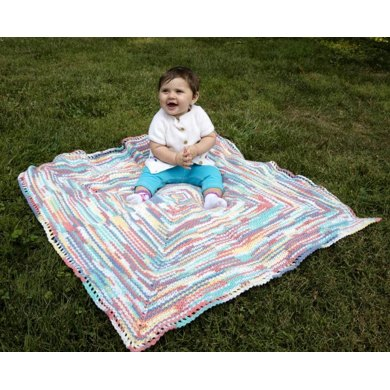 Mark The Spot Baby Blanket in Plymouth Yarn Dreambaby DK Paintpot - F670