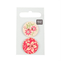 Rico Wooden Buttons, Floral Print