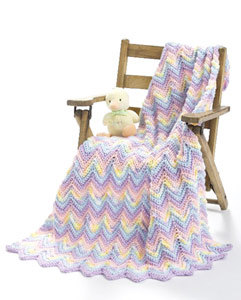 Crochet Ripple Baby Blanket in Caron Simply Soft & Simply Soft Ombre - Downloadable PDF
