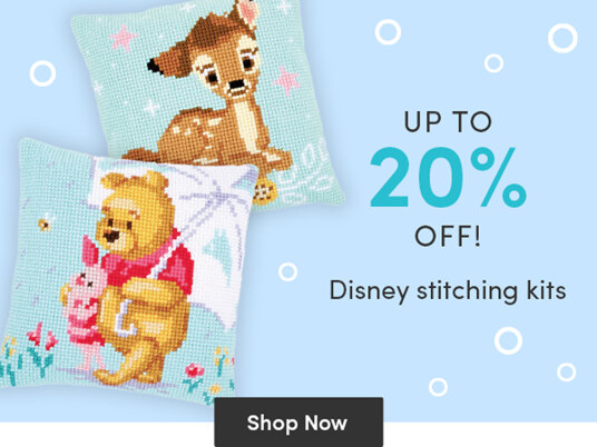 Up to 20 percent off Disney stitching kits!