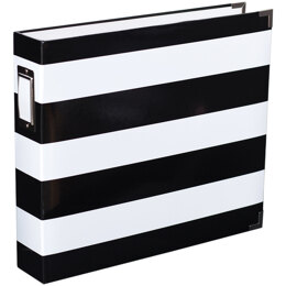 """American Crafts Project Life D-Ring Album 12""""X12"""" - Black & White Stripe By Heidi Swapp"""