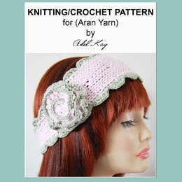 Alana Vintage Style Pretty Alice Wide Corsage Lace Edging Headband Knitting and Crochet Pattern by Adel Kay