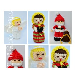 Angel, Carol Singer & Santa Claus Dolls Knitting Pattern