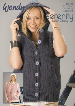 Gilet with Optional Hood & Beanie Hat in Wendy Serenity Super Chunky - 5579