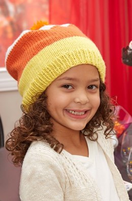 Candy Corn Slouchy Hat in Red Heart Baby Hugs Medium - LW5409 - Downloadable PDF