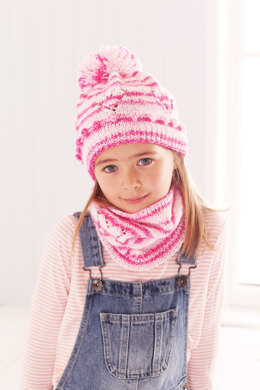 Childrens Sweater, Snood, and Hat in King Cole Stripe DK in King Cole - 5594 - Leaflet