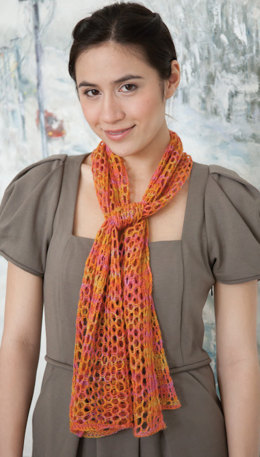 Hand Paint Openwork Scarf in Classic Elite Yarns Silky Alpaca Lace