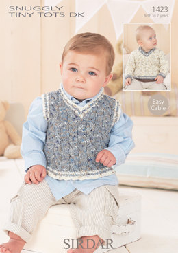 Baby Boys Tank Top and Sweater in Sirdar Snuggly Tiny Tots DK - 1423