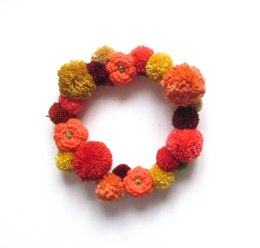 Pumpkin Pompom Wreath