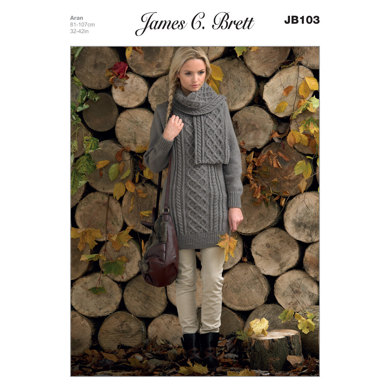 Long Sweater and Scarf in James C. Brett Rustic with Wool Aran - JB103