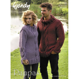 Unisex Cable Sweater and Cowl in Wendy Pampas - 5698